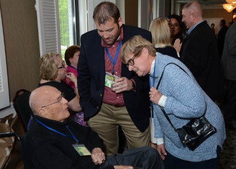 Former Rep. John D. Dingell, Jr. chats with supporters.